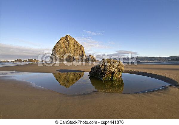 Reflexión de roca de pajar en la playa Cannon - csp4441876