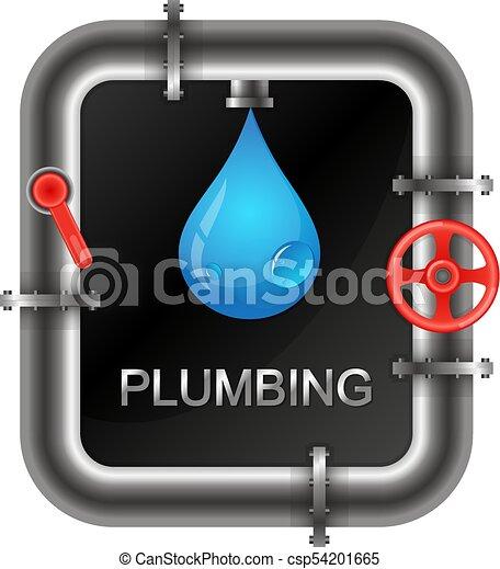 Fontanería con un símbolo de tuberías de agua - csp54201665