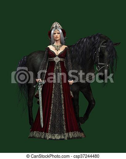 ca, cg, black , kasteel, paarde, dame, 3d - csp37244480