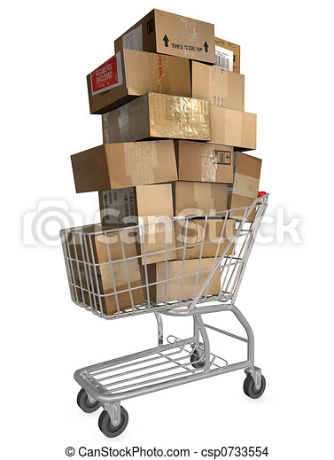 ca, shopping vozík, nalodění - csp0733554