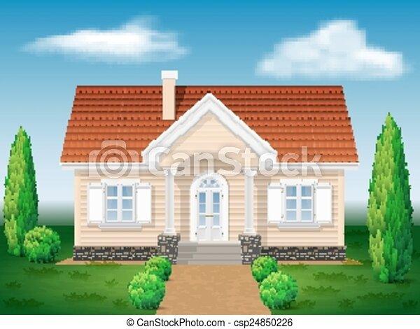 Casa de cottage con el medio ambiente - csp24850226