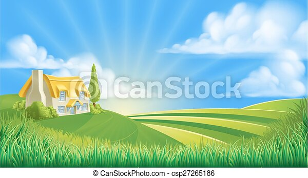 cabaña, colinas rodantes - csp27265186