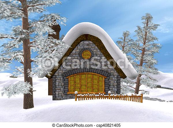 Caba a interpretaci n invierno 3d azul invierno cielo ilustraci n de archivo buscar - Cabana invierno ...