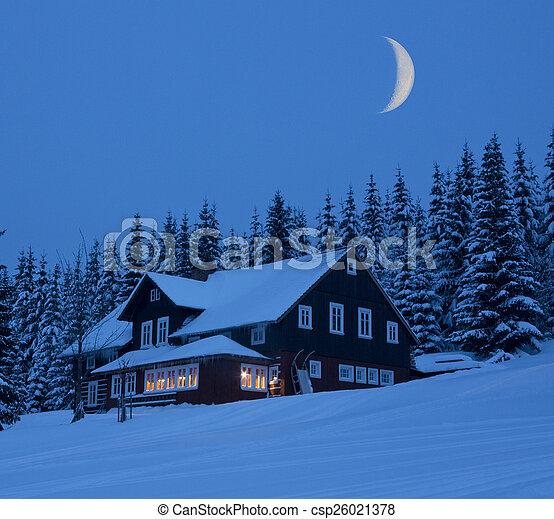 Caba a monta a invierno iluminado por la luna noche imagen buscar galer a de fotos - Cabana invierno ...