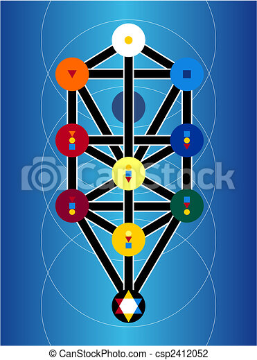 Cabala Jewish Symbols On Blue Background - csp2412052