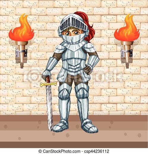 Caballo en armadura con espada de plata - csp44236112