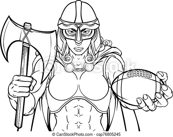 caballero, celta, viking, mujer, guerrero, fútbol, trojan - csp76805245