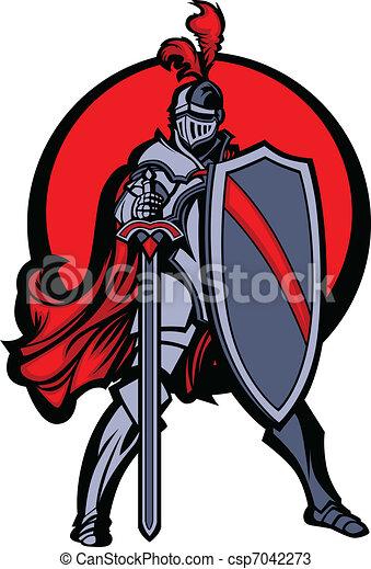 mascota Knight con espada y escudo - csp7042273