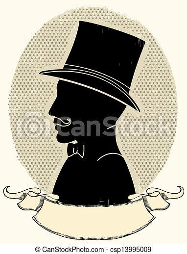 Caballero con sombrero y bigote. Vector con silueta - csp13995009