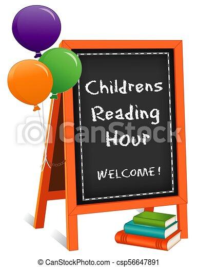 Niños leyendo la hora, letrero de caballete, libros, globos - csp56647891