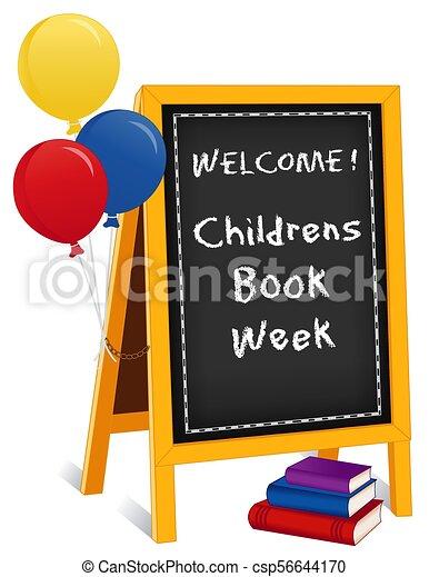 La semana del libro de niños, el cartel de caballetes, libros, globos - csp56644170
