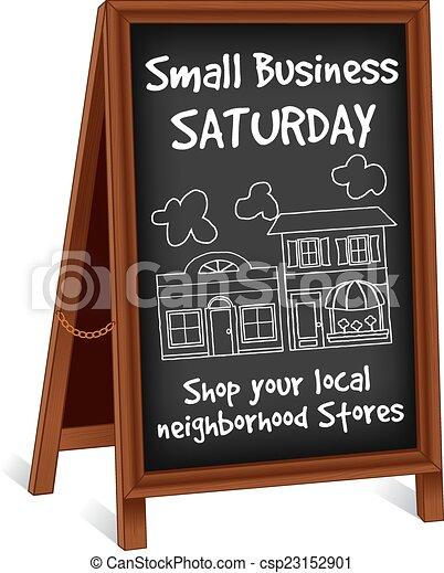 Firma caballete, pequeño negocio el sábado - csp23152901