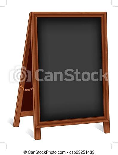 Firmando el caballete de madera plegable - csp23251433