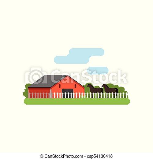 Caballo, granja, ilustración, corral, vector, granero rojo, paisaje ...