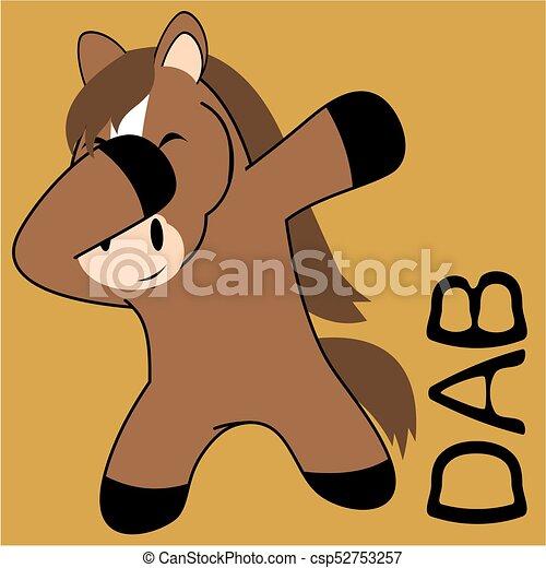 Dab pinchando dibujos animados de niño caballo - csp52753257