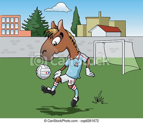 Caballo jugando al fútbol - csp6261672