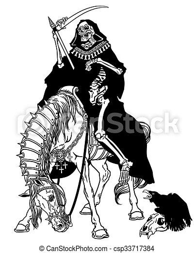 El símbolo de la muerte sentado en un caballo - csp33717384