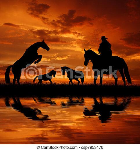 Vaquero silueta con caballo - csp7953478