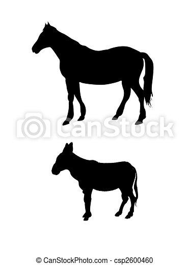 Caballo vector y silueta de burro - csp2600460