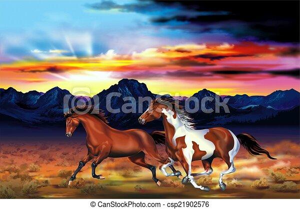 Los caballos salvajes hacen ilustraciones - csp21902576
