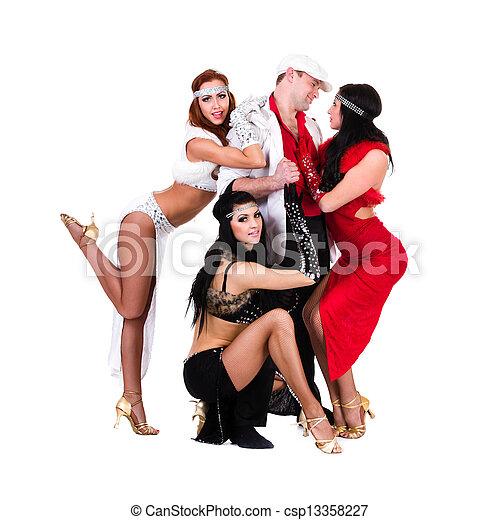 e7e6badf2a05 Cabaret dancer team dressed in vintage costumes. Cabaret dancer team ...