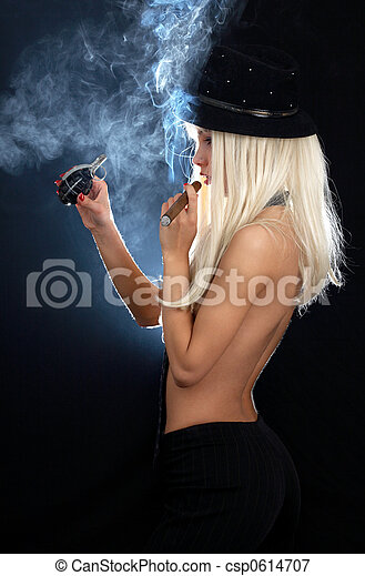 cabaret girl with cigar and grenade - csp0614707