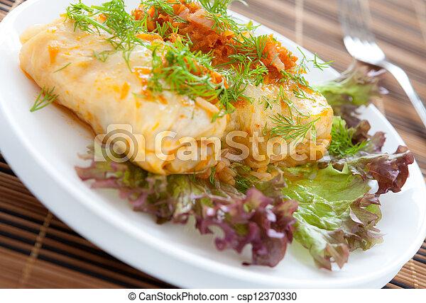 cabbage roll vegetarian food - csp12370330