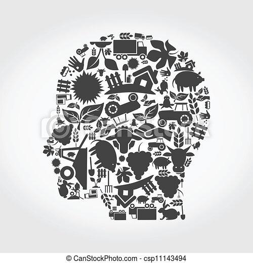 cabeça, agricultura - csp11143494