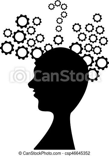 cabeça, branca, engrenagem, fundo - csp46645352