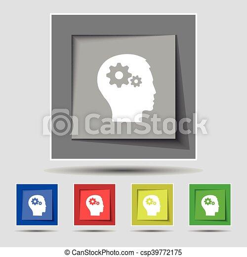 cabeça, buttons., colorido, ícone, sinal, vetorial, cinco, pictograph, original, engrenagem - csp39772175