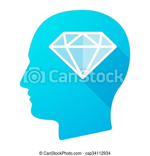 cabeça, diamante, macho, ícone - csp34112934