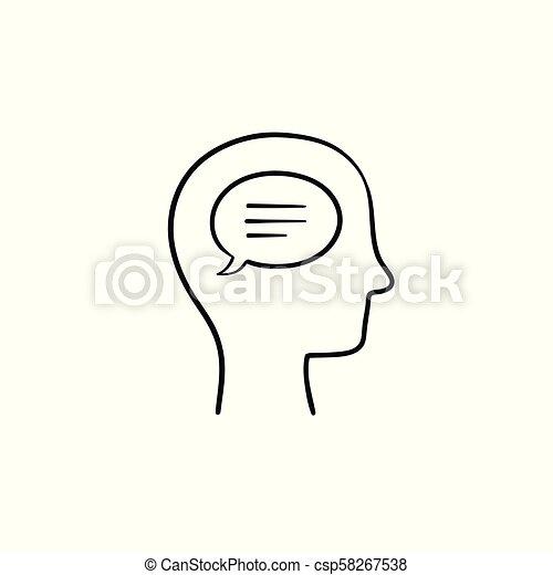 cabeça, esboço, doodle, humanos, mão, desenhado, icon., bolha, pensar - csp58267538