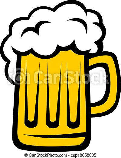 cabeça grande, cerveja, espuma, quartilho - csp18658005