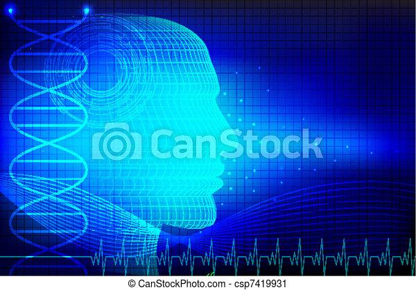 cabeça, human, médico, fundo - csp7419931