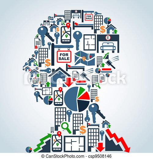 cabeça, mercado propriedade, homem negócio - csp9508146