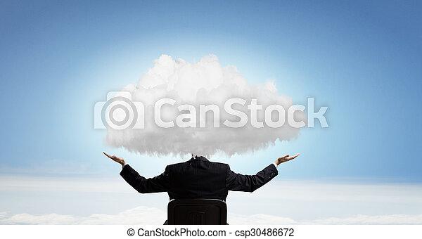 cabeça, nuvens, um - csp30486672