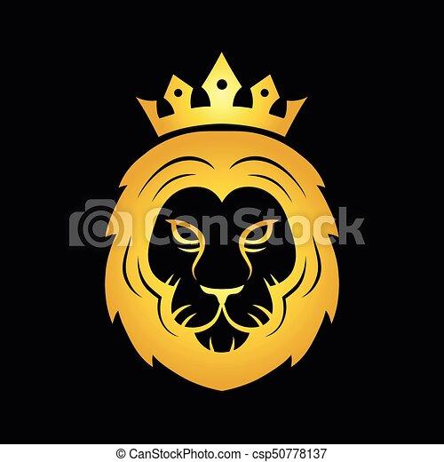 Cabeca Ouro Leao Coroado Feroz Logotipo Ouro Modernos Leao