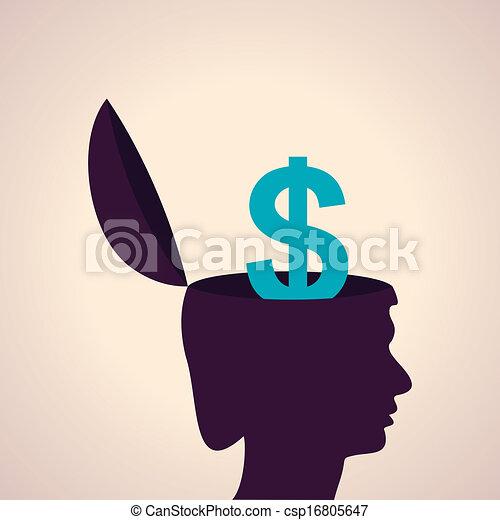 cabeça, símbolo dólar, human - csp16805647