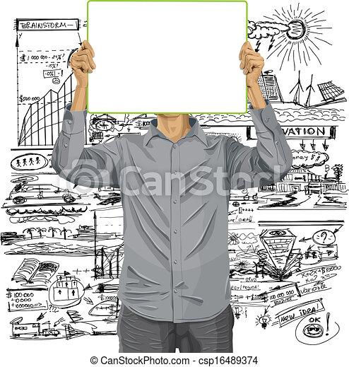 cabeça, seu, contra, escreva, tábua, homem - csp16489374