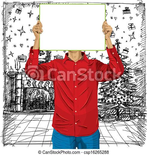 cabeça, seu, contra, escreva, tábua, homem - csp16265288