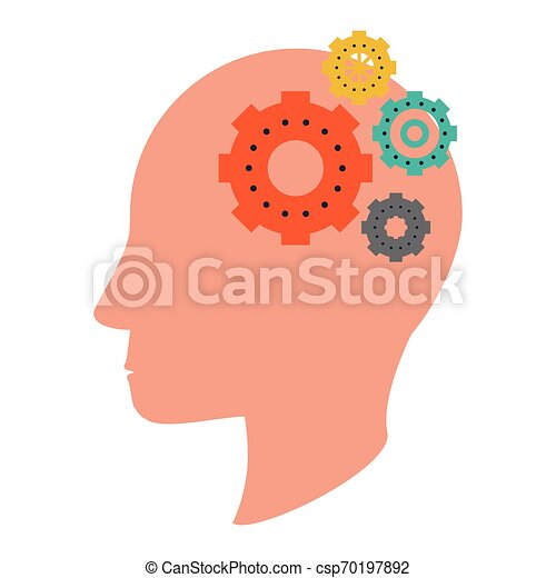 cabeça, silueta, símbolo, human, engrenagens - csp70197892