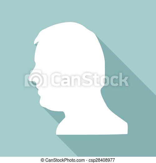 cabeça, sombra, engrenagem, longo, ícone - csp28408977