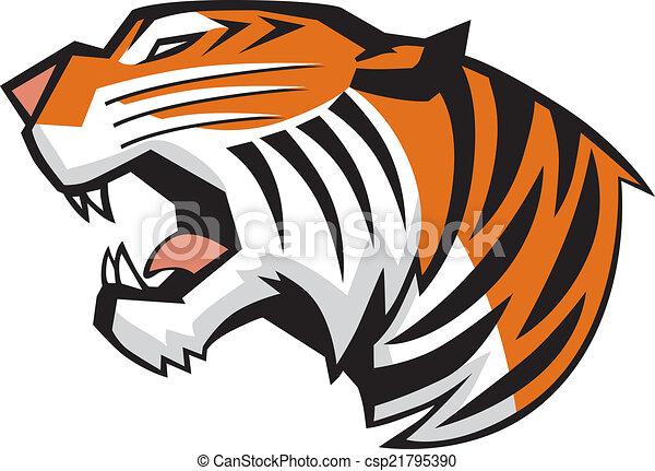cabeça, tiger, vetorial, rugindo, vista lateral - csp21795390