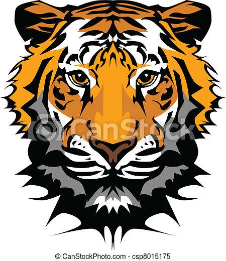 cabeça tigre, gráfico, vetorial, mascote - csp8015175