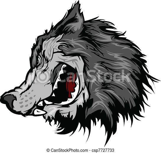 cabeça, vetorial, lobo, caricatura, mascote - csp7727733