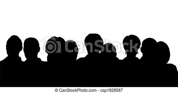 cabeças, silueta, pessoas - csp1828587