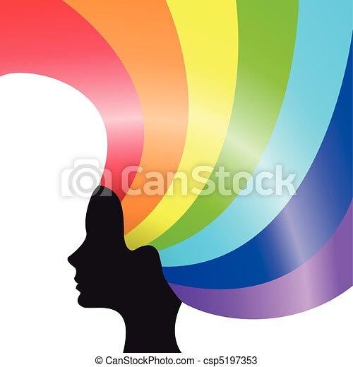 cabelo, arco íris - csp5197353