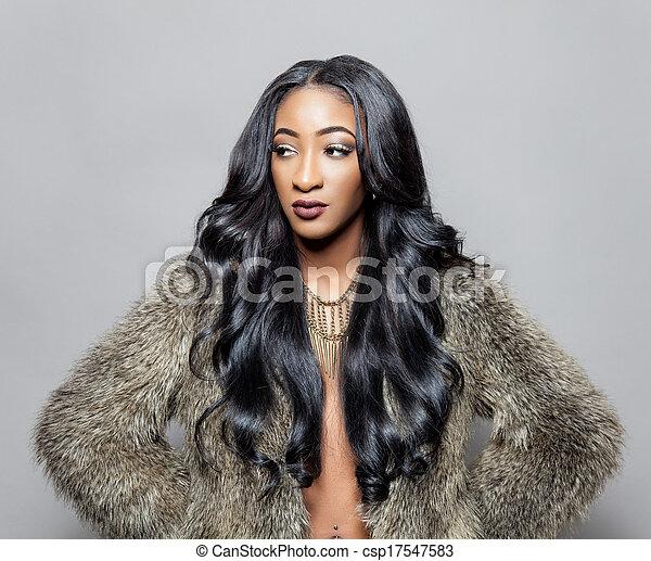 cabelo, elegante, pretas, cacheados, beleza - csp17547583