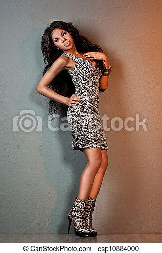 cabelo, excitado, menina, mulatto, longo - csp10884000