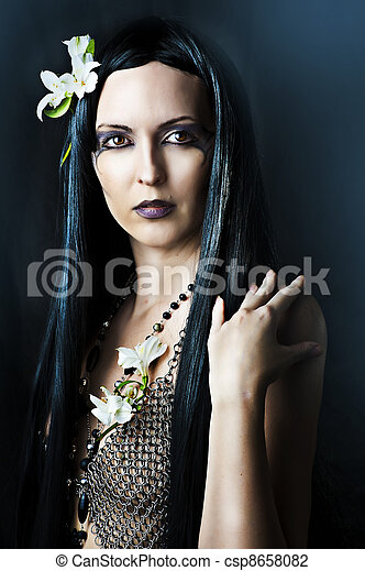 cabelo, excitado, mulher, jovem, longo - csp8658082